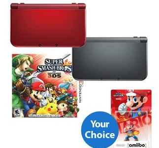 New Nintendo 3DS XL Handheld with Super Smash Bros Game and Choice of Amiibo
